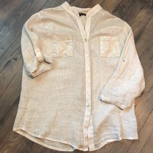 Charlie B Made In Italy Linen And Sequined Top XL